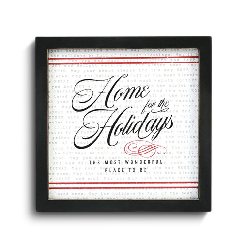Square wall art in a black frame that says Home for the Holidays The Most Wonderful Place to Be