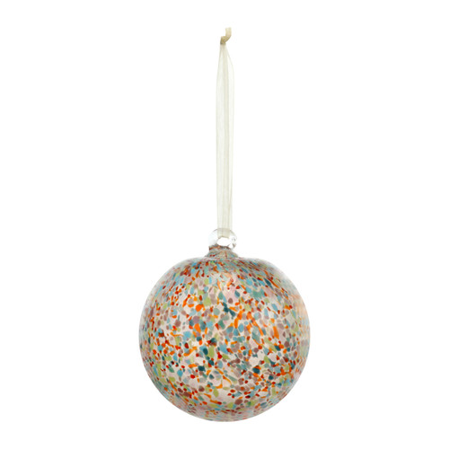 Hangling glass bulb ornament with dots of many colors