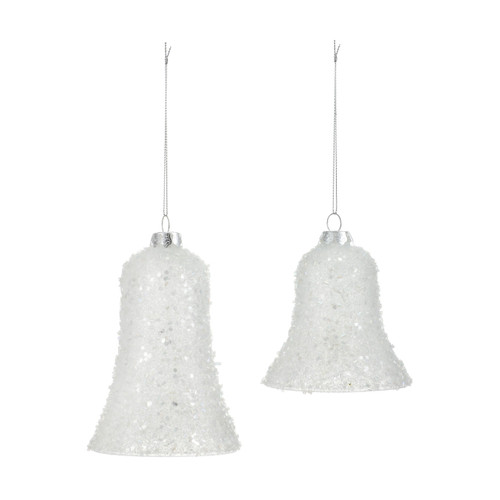 Two white glass bell ornaments decorated with beads
