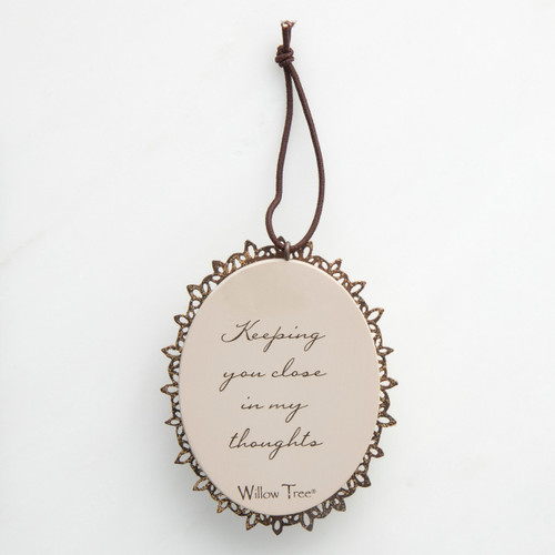 Round cream pendant with wooden outline - 'keeping you close in my thoughts' carved in