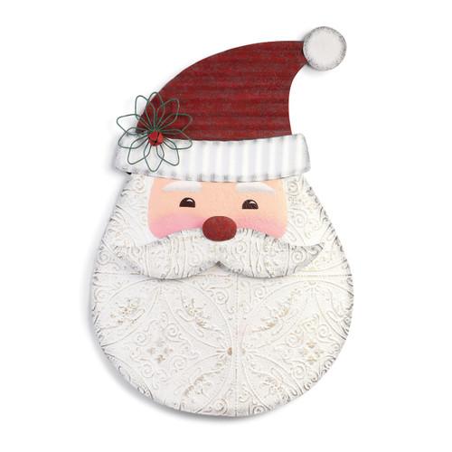 metal painted Santa head