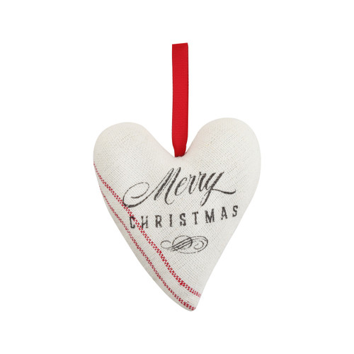 Hanging heart shaped fabric ornament that says Merry Christmas