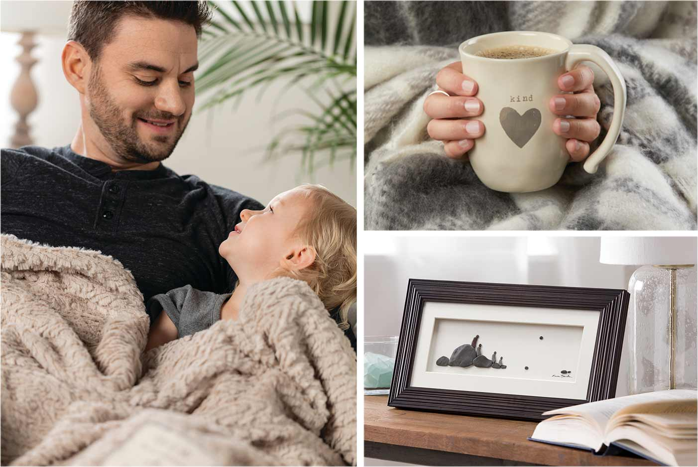 Dad and daughter snuggled under a soft blanket together. Hands wearming around a mug decorated with the words kind heart. Framed art of a family of four people setting on a living room table.