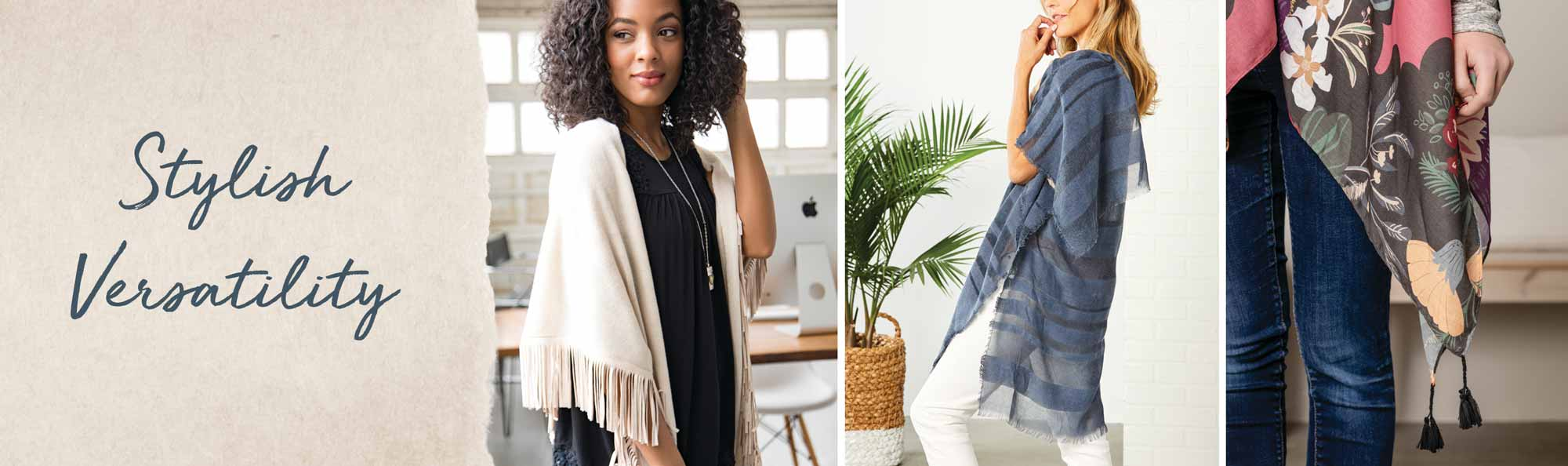 Stylish Versatility, women wearing soft-draping wraps and scarves