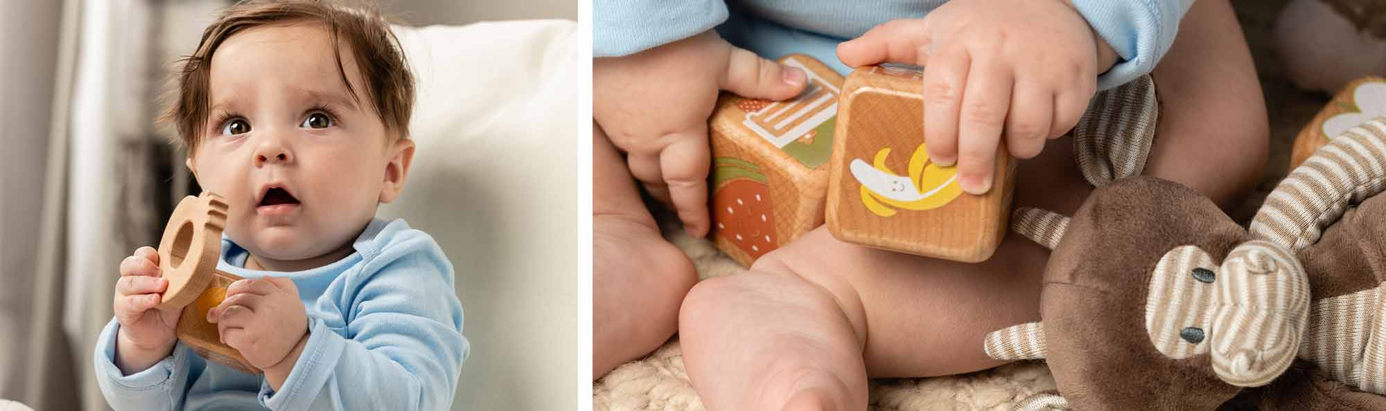 Picture of a baby playing with wooden blocks and teething toys