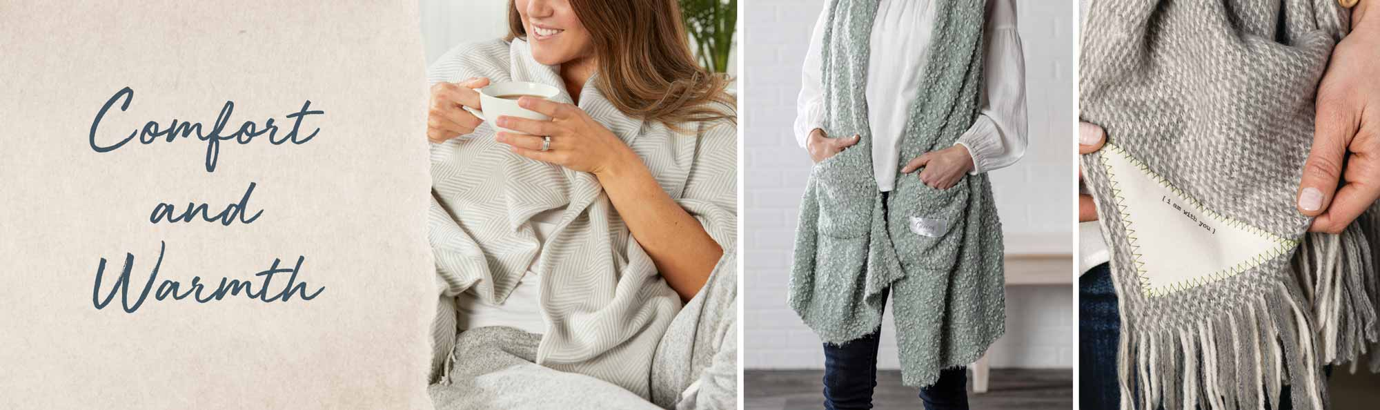 Women in soft, warm shawls and wraps - Comfort and Warmth