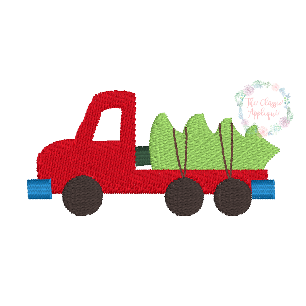 Flatbed Truck With Christmas Tree Mini Fill Stitch Machine Embroidery Design File By The Classic Applique