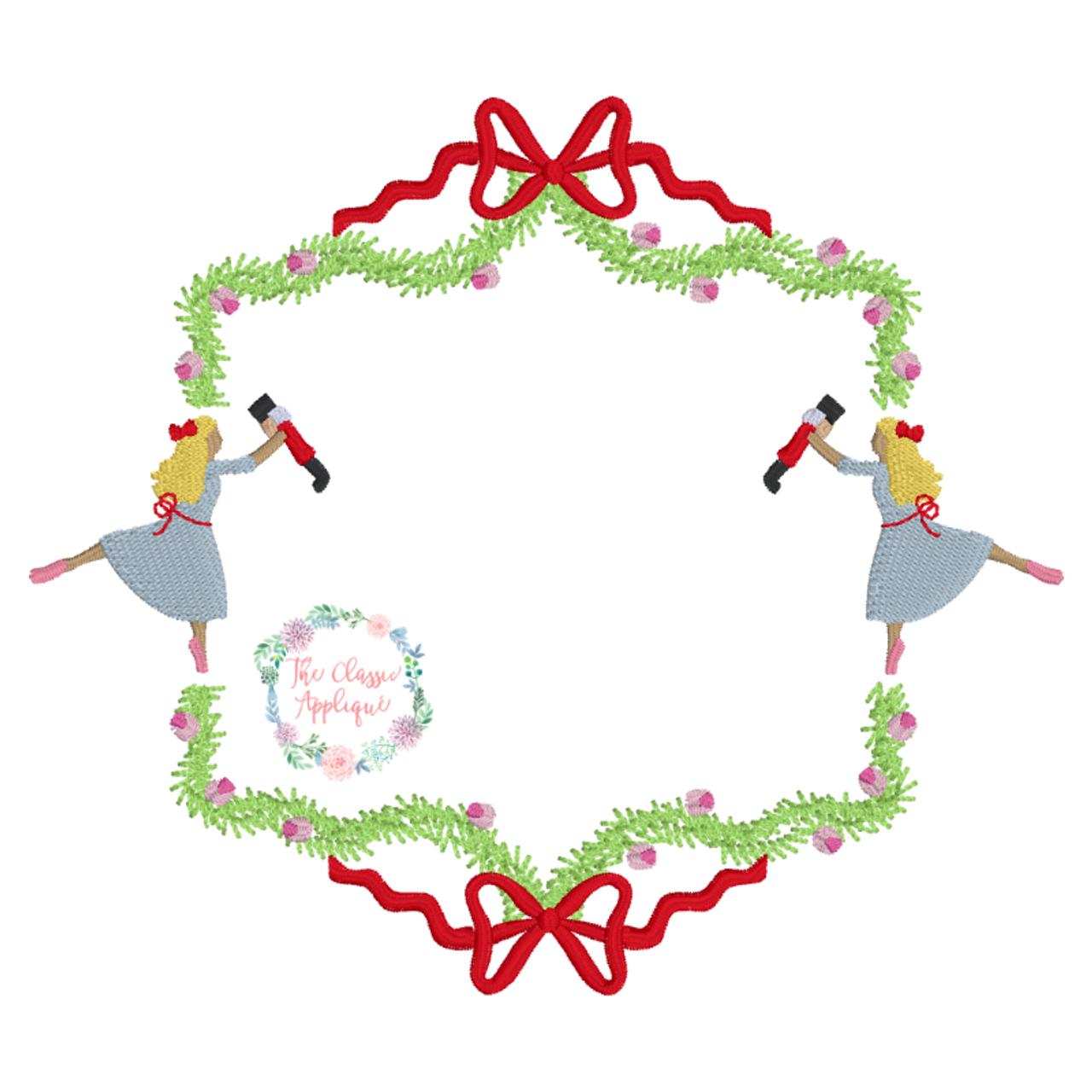Christmas Nutcracker Monogram Frame Machine Embroidery Design File By The Classic Applique