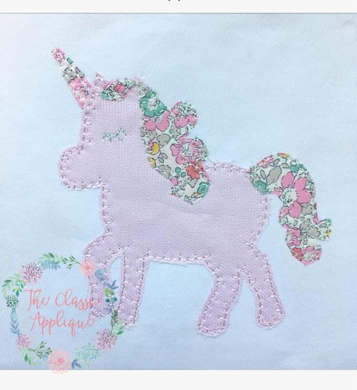 Unicorn blanket stitch applique