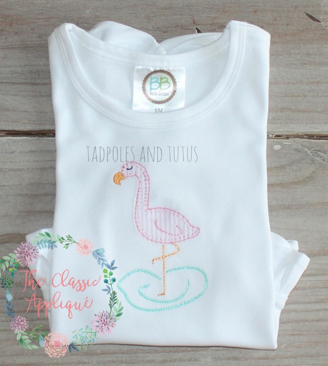 The Classic Applique Flamingo Blanket Stitch Raggy Applique Machine Embroidery Design