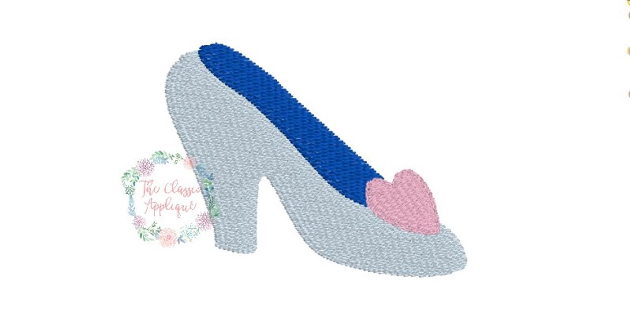 Mini fill stitch glass slipper with heart princess machine