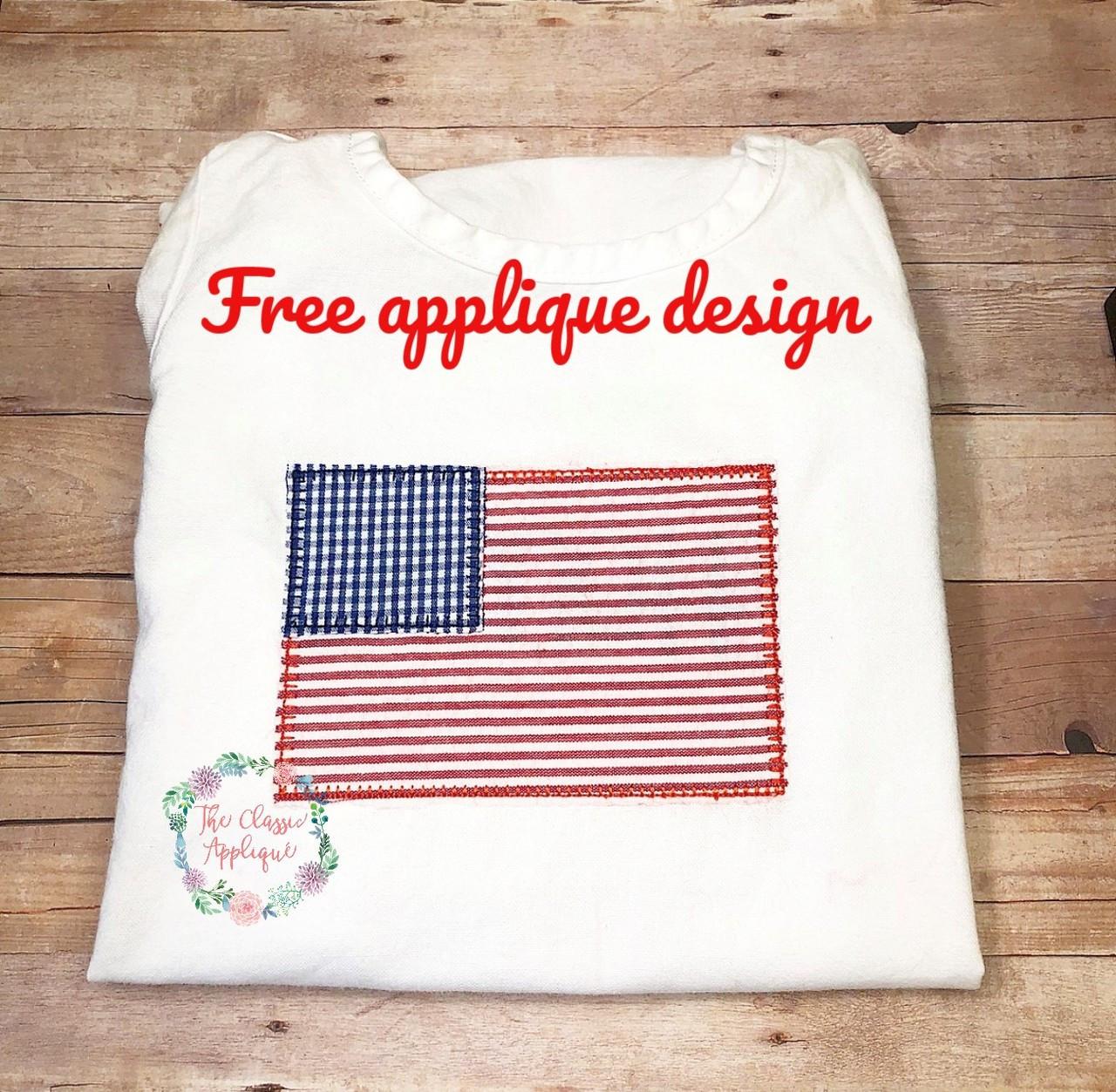 Free American Flag Blanket Stitch Vintage Style Vintage Stitch