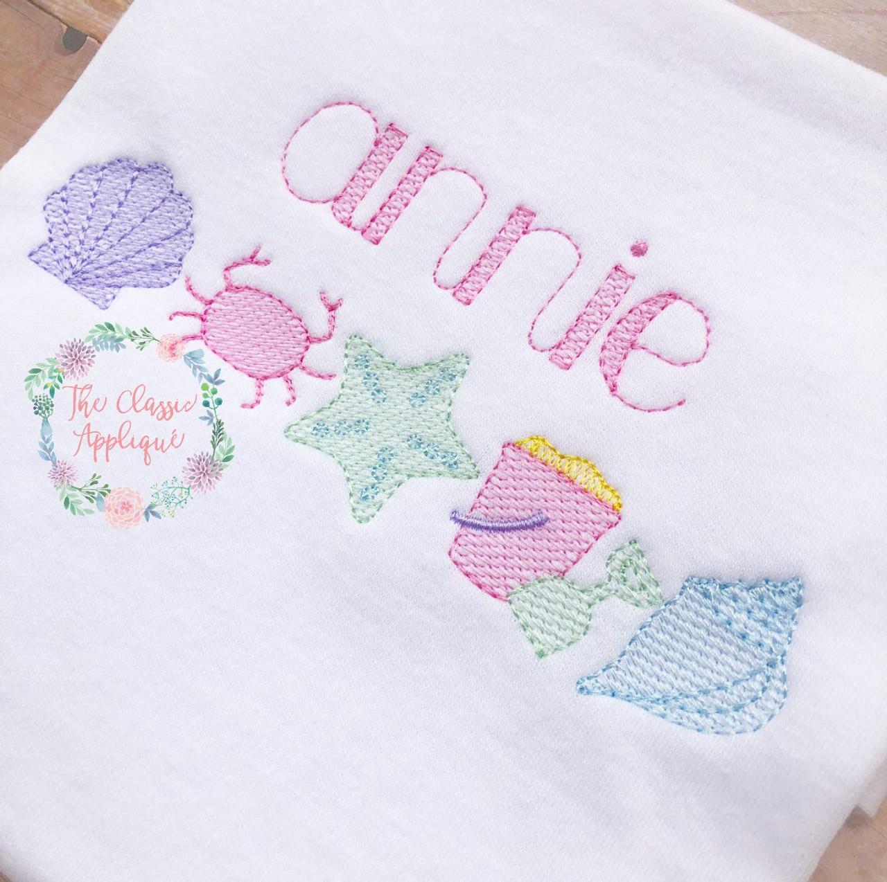 Annie Sketch Fill Vintage Stitch Sketch Machine Embroidery Font By