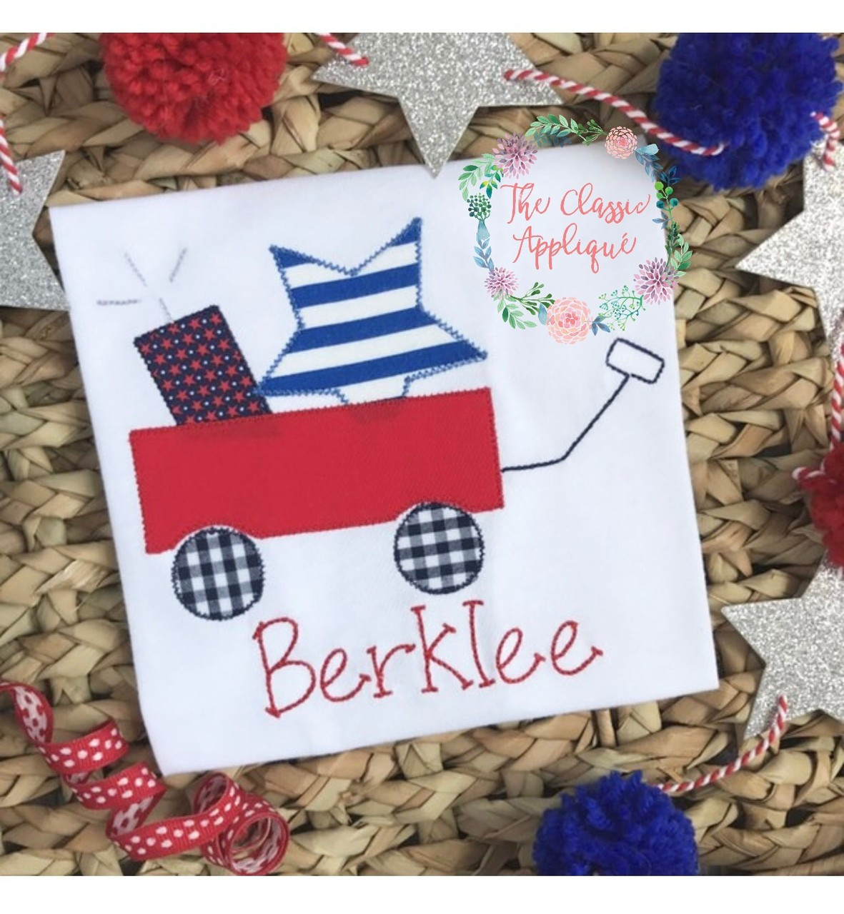 Patriotic For The Fourth Of July Red Wagon With Star And Firecracker