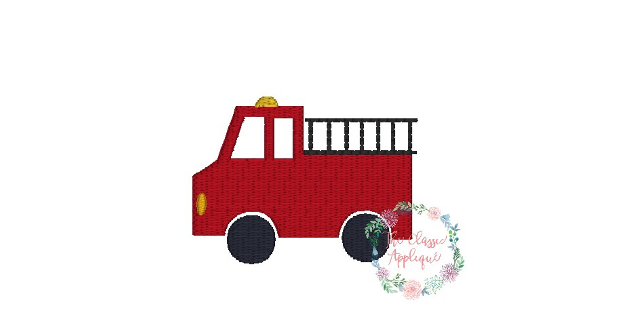 Firetruck Mini Fill Stitch Boy Emergency Vehicle Machine Embroidery
