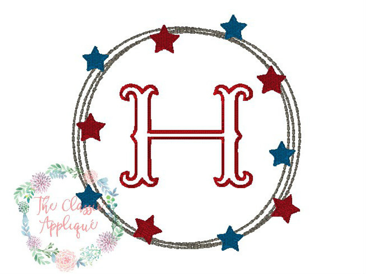 Patriotic For The Fourth Of July Vintage Stitch Circle And Mini Fill Stitch Star Monogram Frame By The Classic Applique
