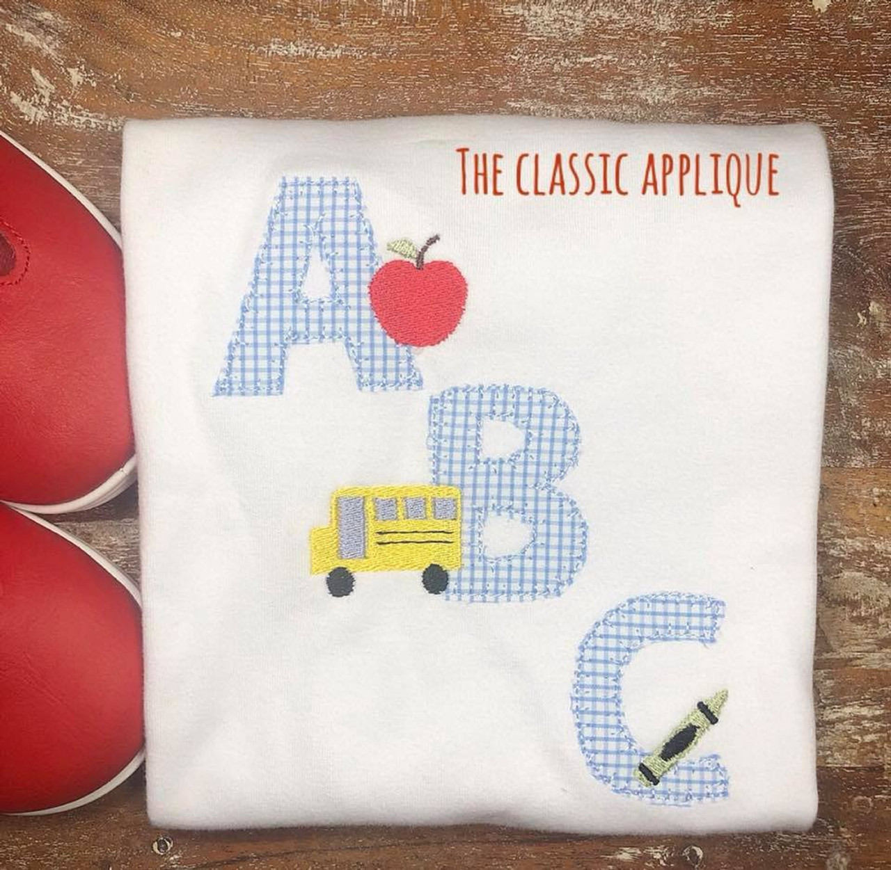 Back To School Abc Blanket Stitch Applique With Apple Bus And