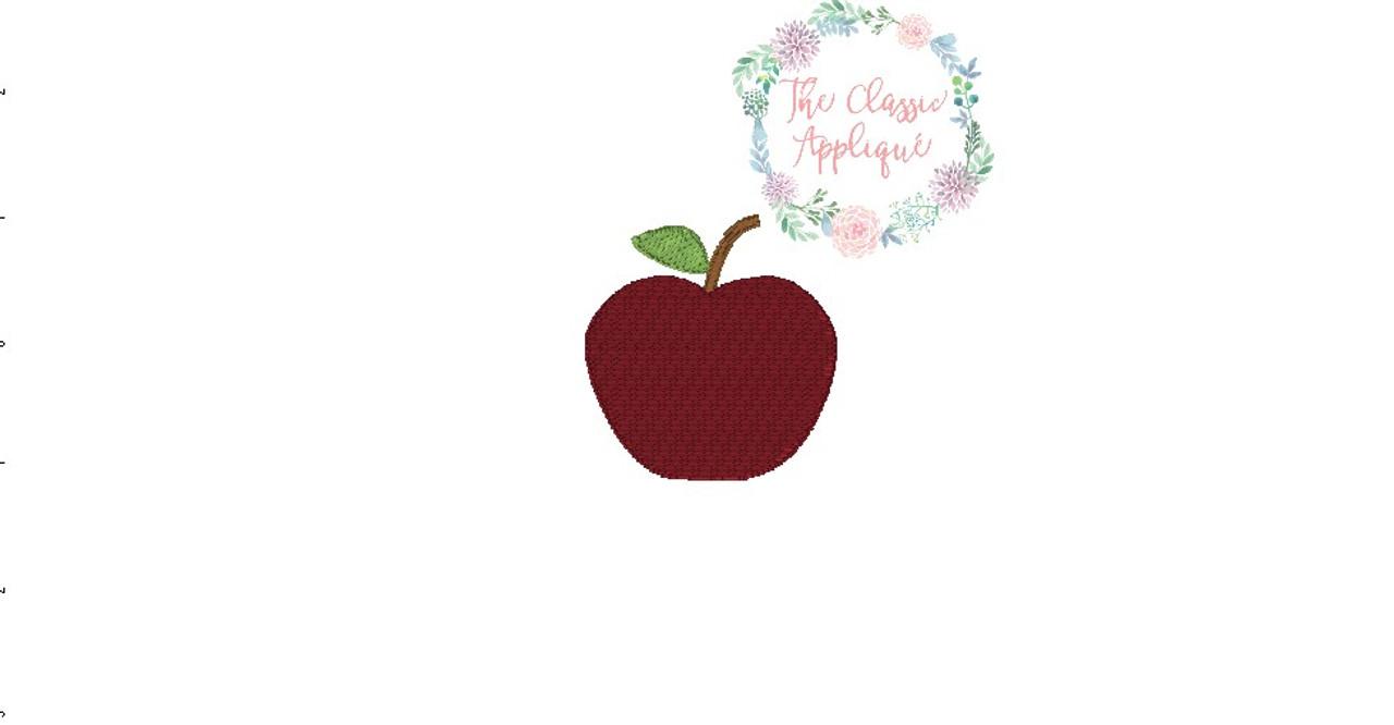 Back To School Apple Mini Fill Stitch Machine Embroidery Design File