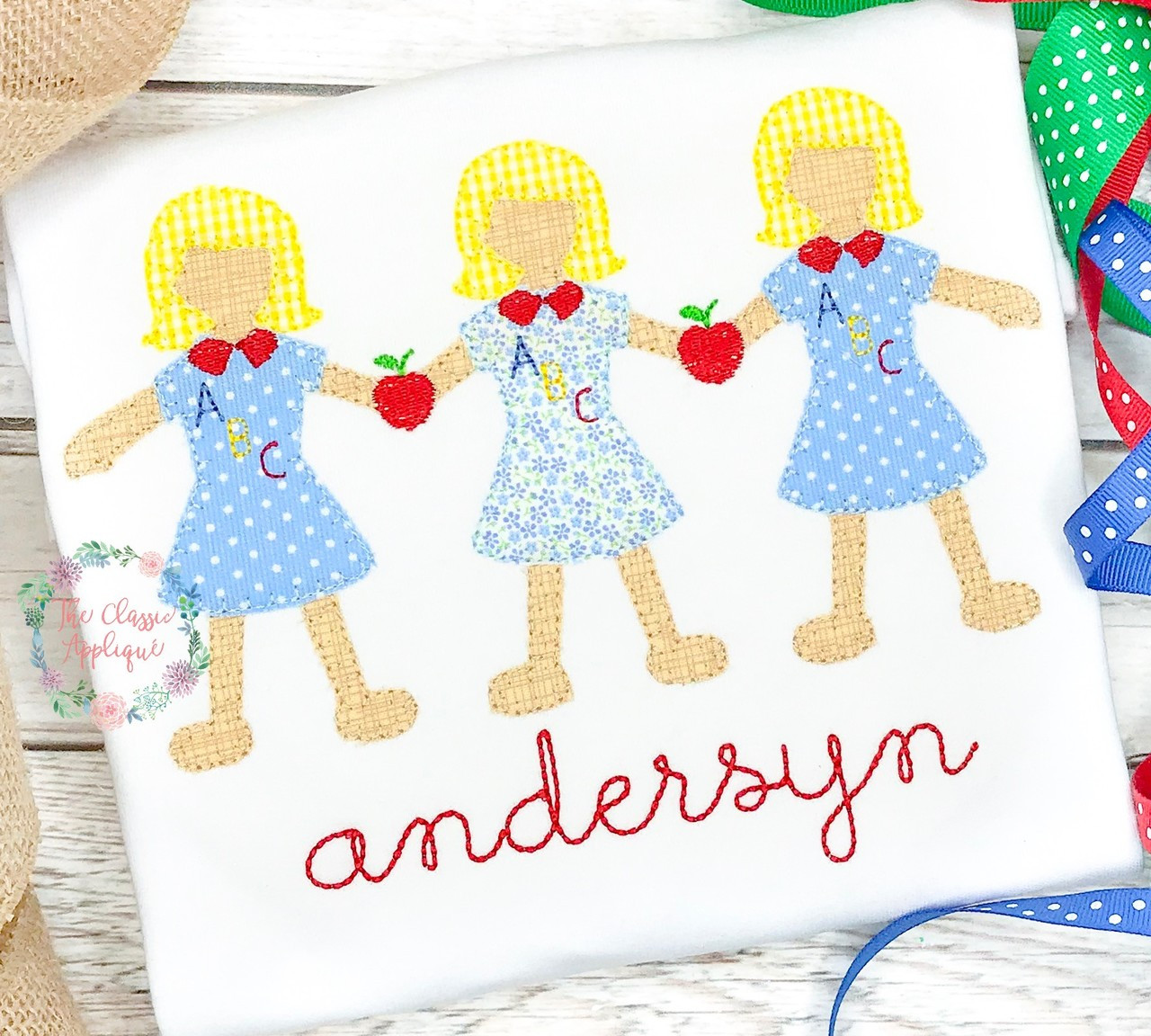 Back To School Vintage Paperdoll Girls With Mini Fill Apple And Abc