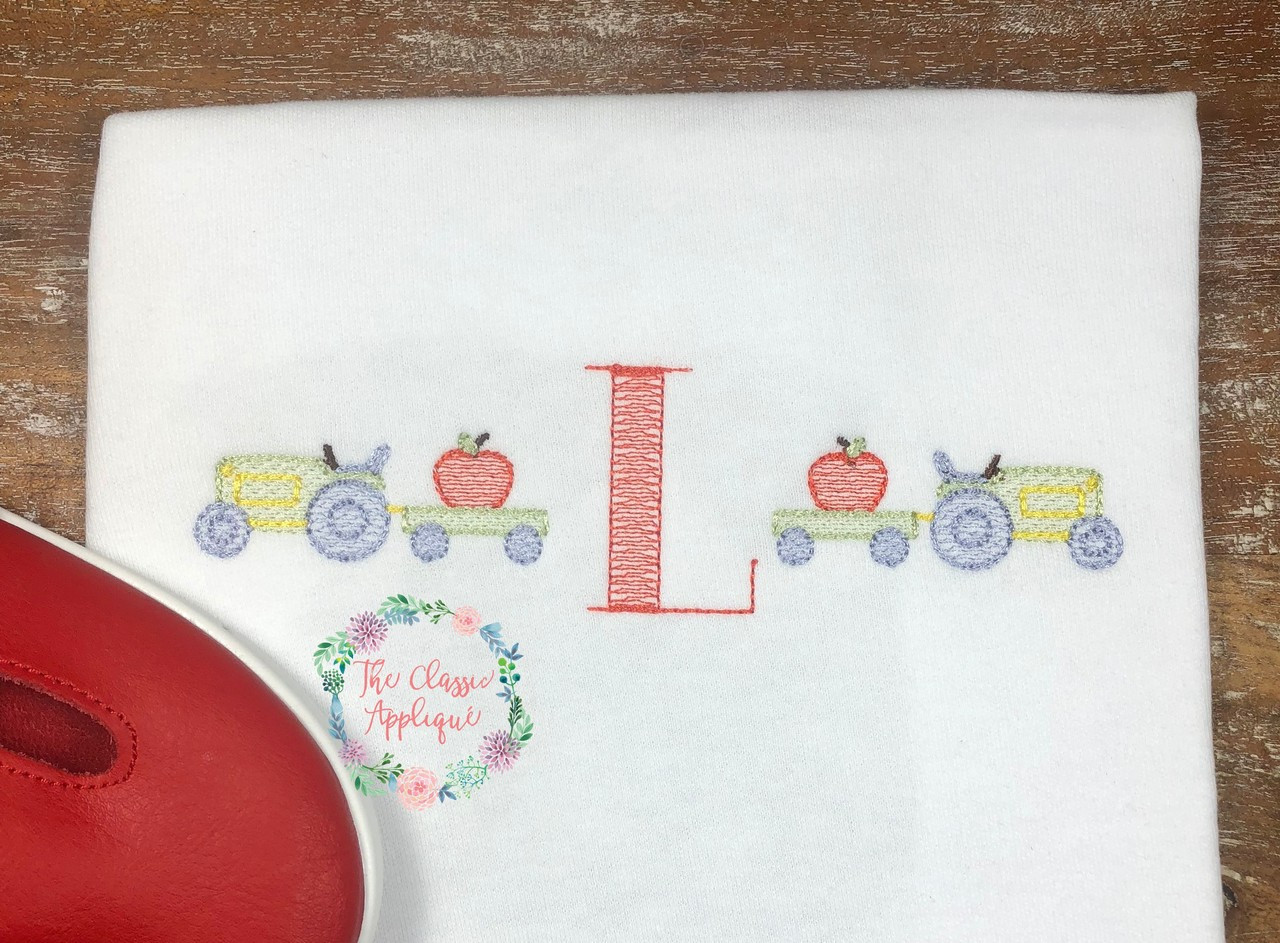 Back To School Fall Apple Picking Sketch Fill Tractor Vintage Stitch