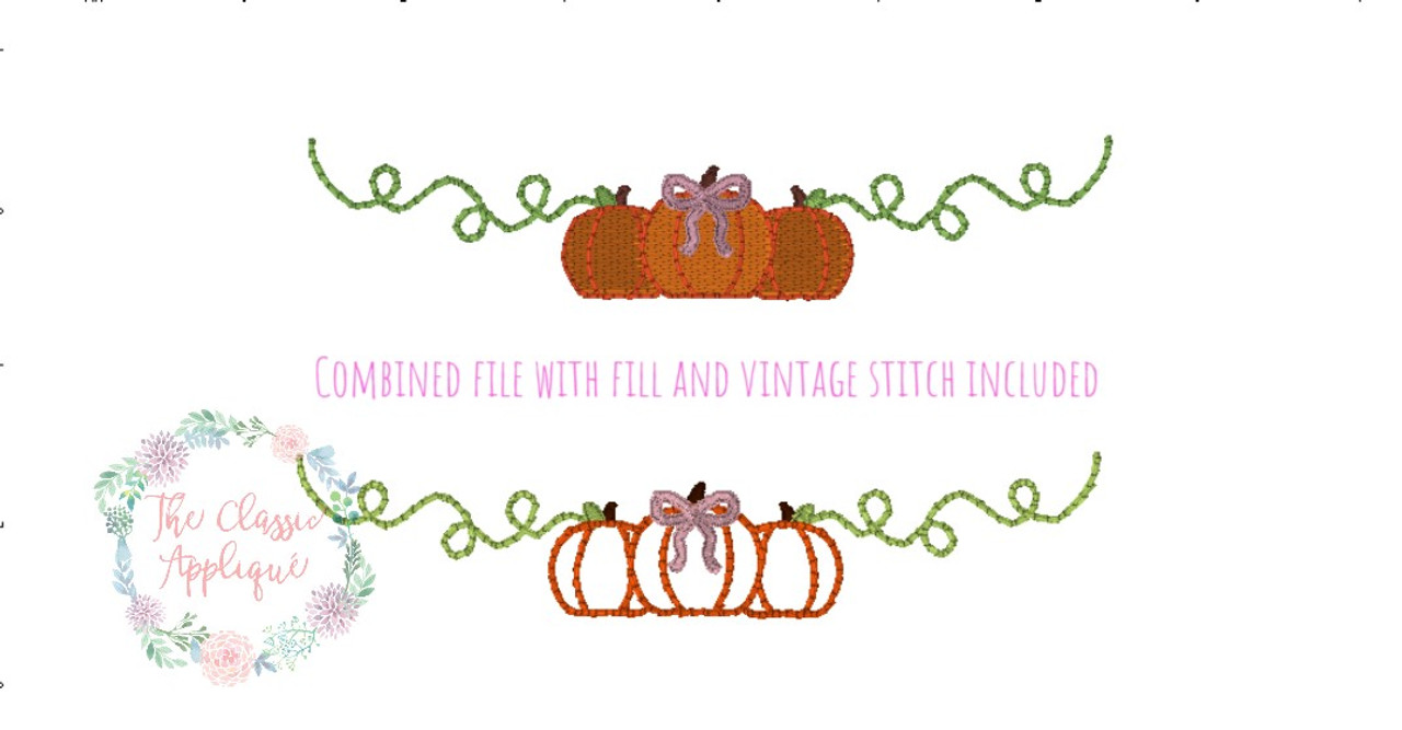 Fall girl monogram frame pumpkin with bow vintage stitch fill ...