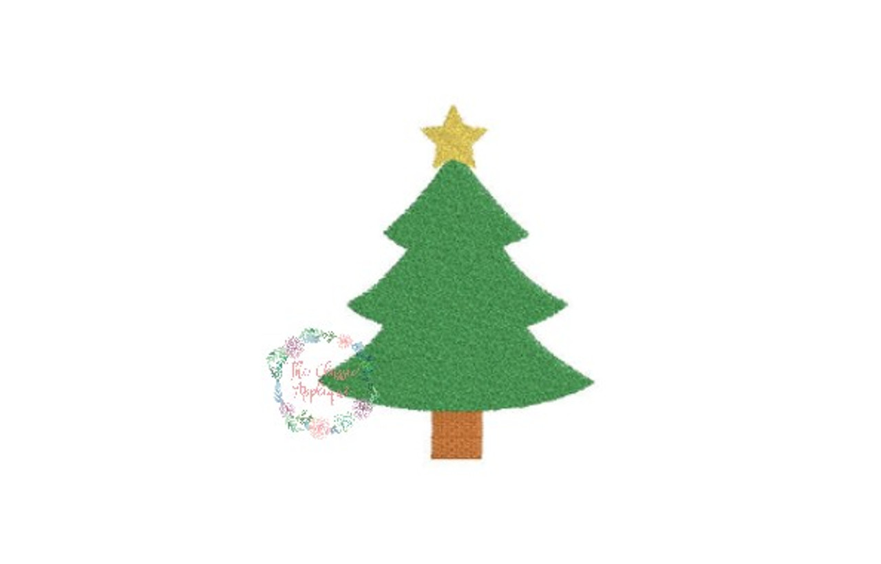 Christmas Tree With Star Holiday Mini Fill Stitch Machine Embroidery