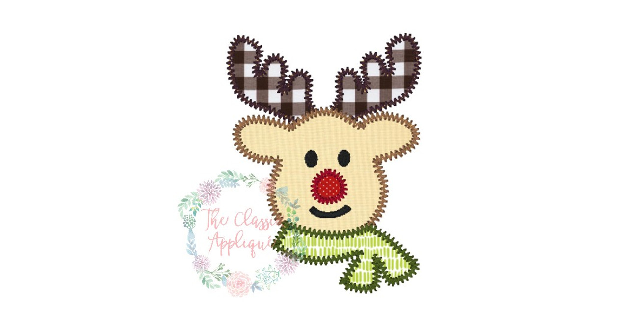 Boy christmas holiday rudolph reindeer with scarf zig zag applique