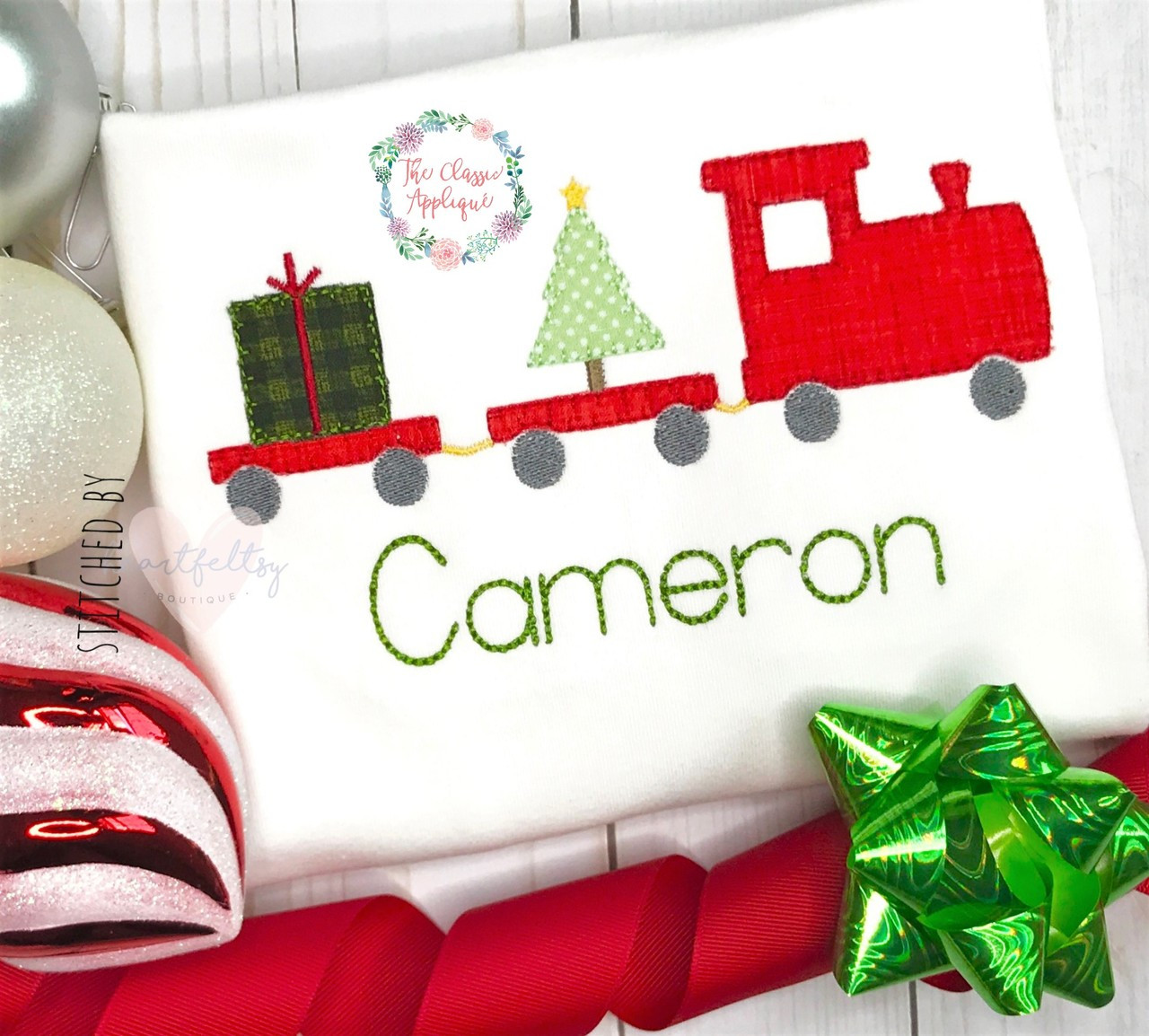Christmas Train.Christmas Train Blanket Stitch Applique