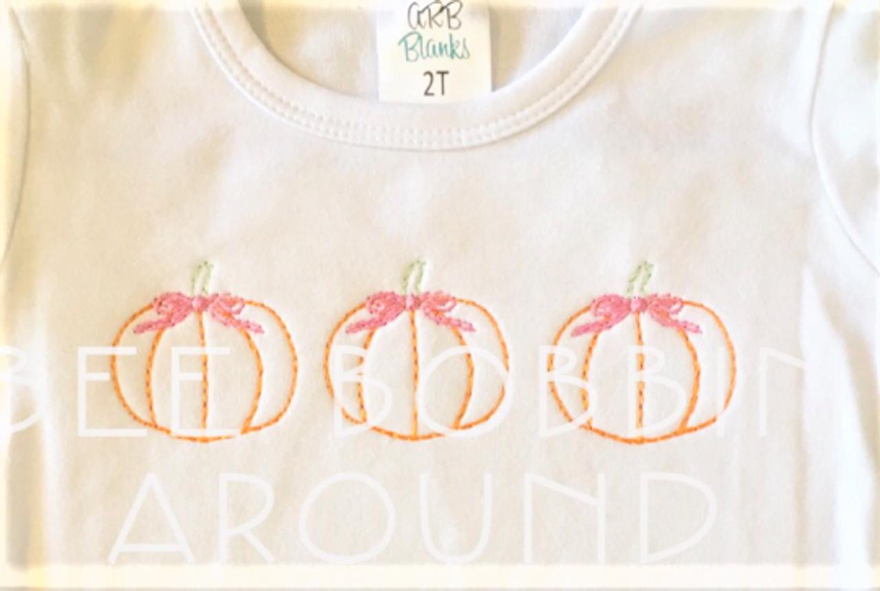 Girl fall pumpkin with bow trio vintage quick bean stitch machine