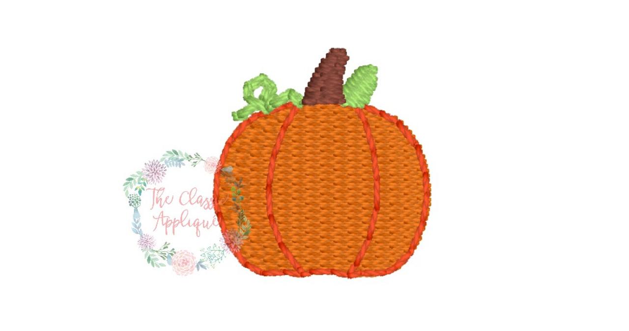 Fall autumn thanksgiving pumpkin mini fill stitch monogram frame