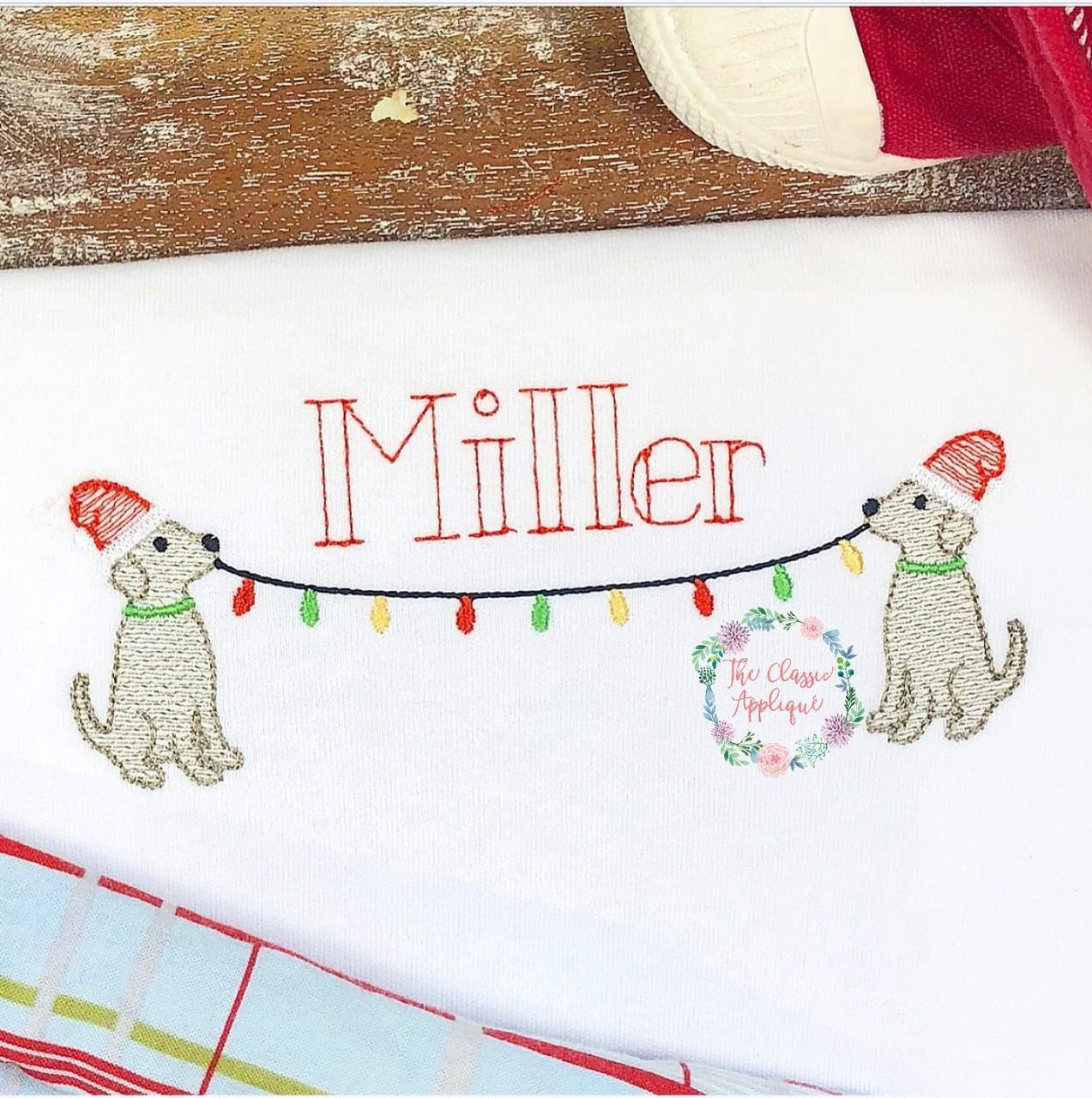 3038786c23c Christmas boy lab dogs with santa hat and christmas light monogram ...