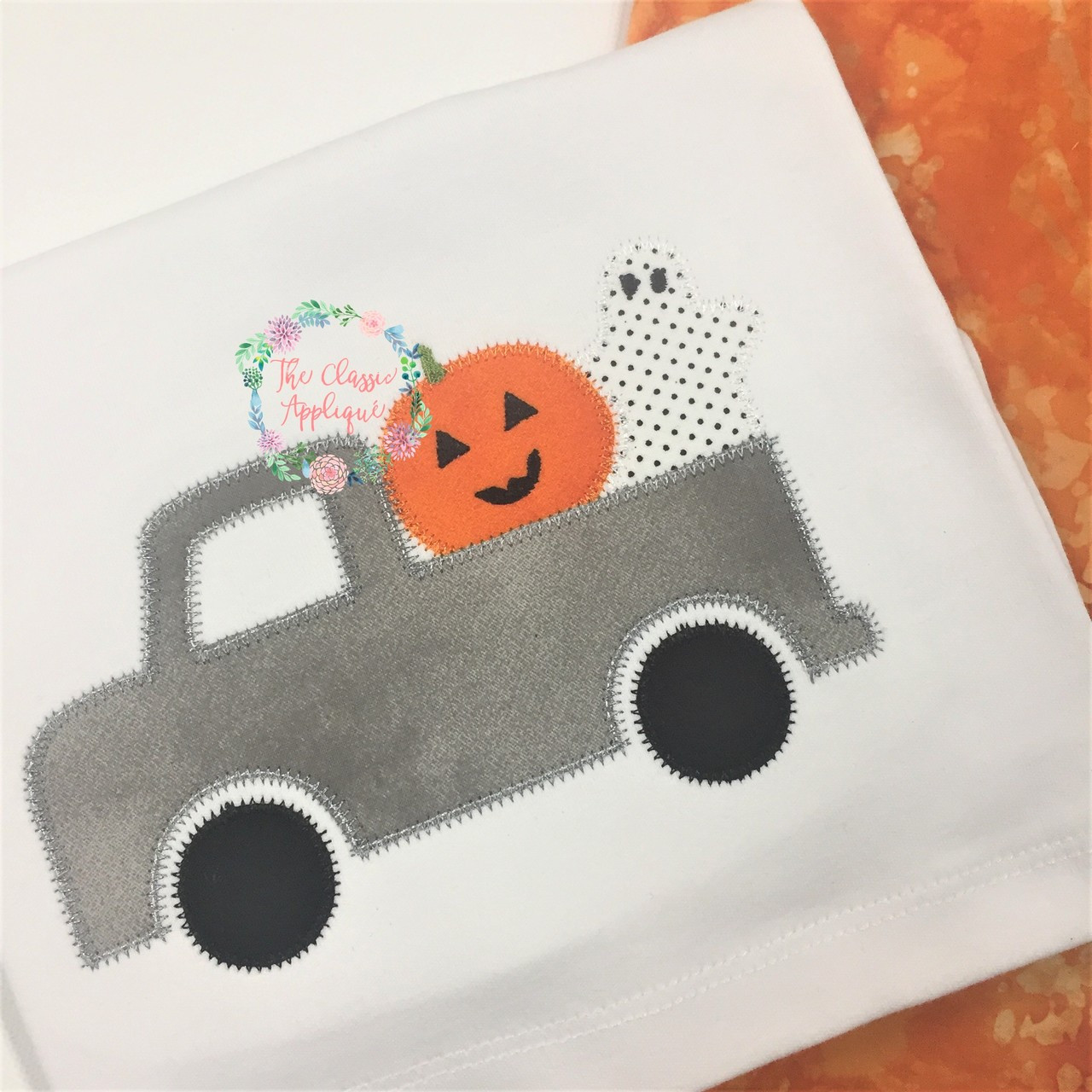 Halloween Boy Truck With Jack O Lantern And Ghost Zig Zag Applique Machine Embroidery Design By The Classic Applique