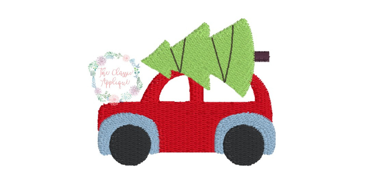 Car Truck With Christmas Tree Tied On Top Mini Fill Stitch Machine Embroidery Design By The Classic Applique