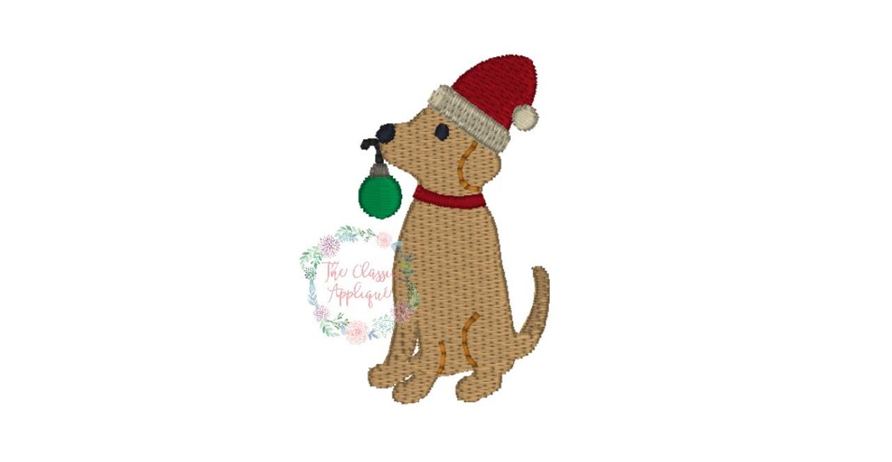 Boy Lab Dog Christmas Santa Hat Mini Fill Stitch Machine Embroidery