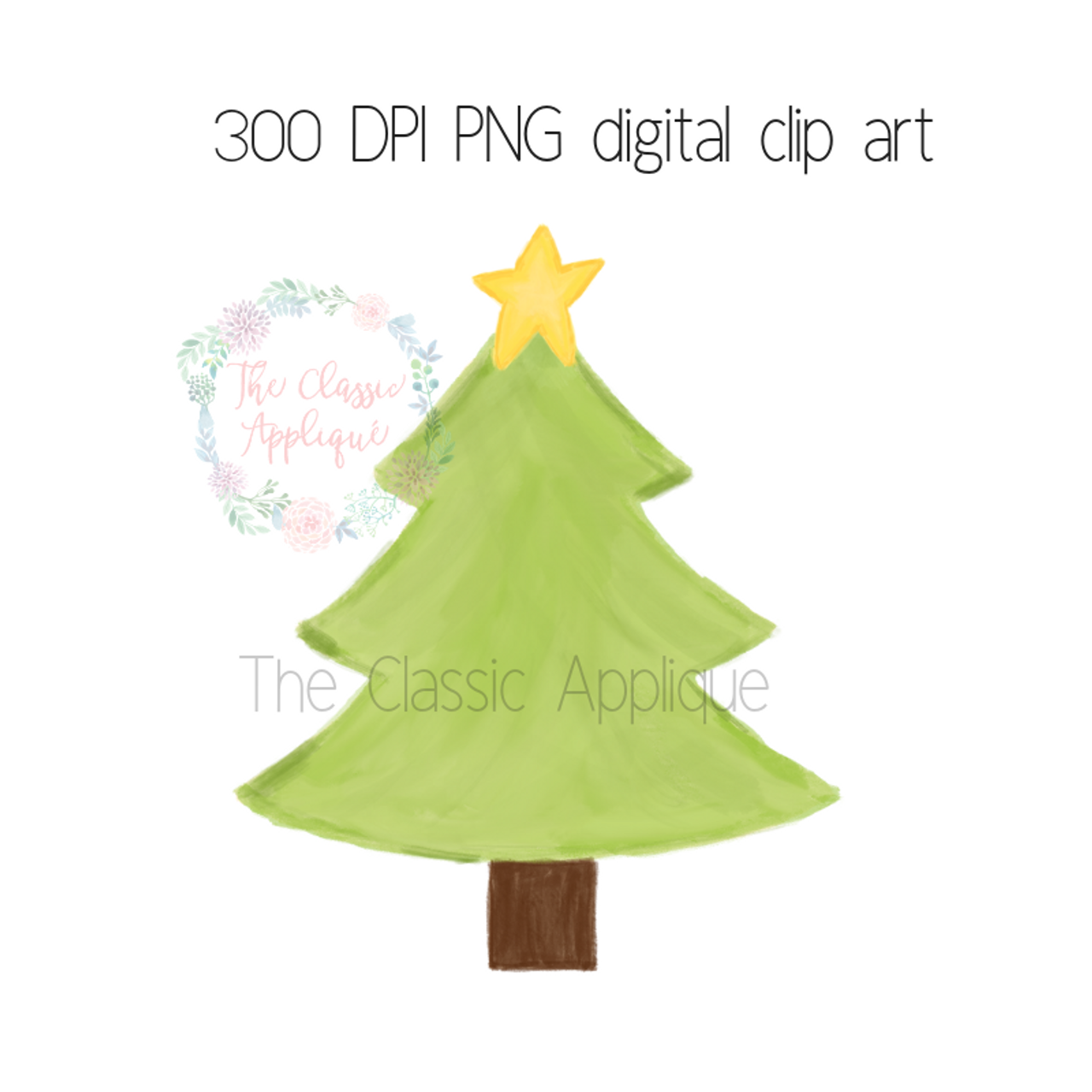 Christmas Tree With Star Watercolor Clip Art The Classic Applique