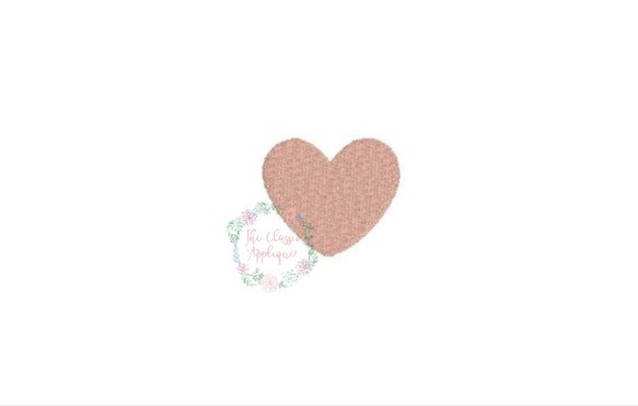 Heart mini fill stitch embroidery design the classic applique