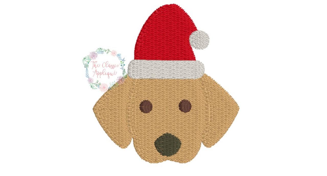 Christmas Lab Dog With Santa Claus Hat Mini Fill Stitch Machine