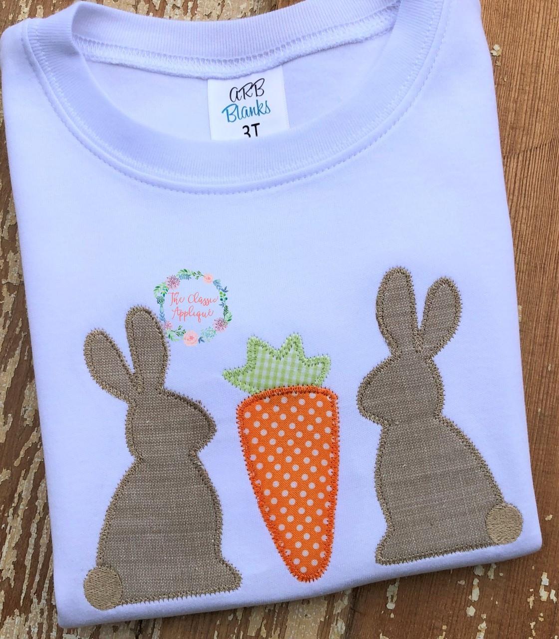 Easter Applique Machine Embroidery Carrot Trio Satin Stitch Applique Design Instant Download 5x5 9x9 8x8 5x7