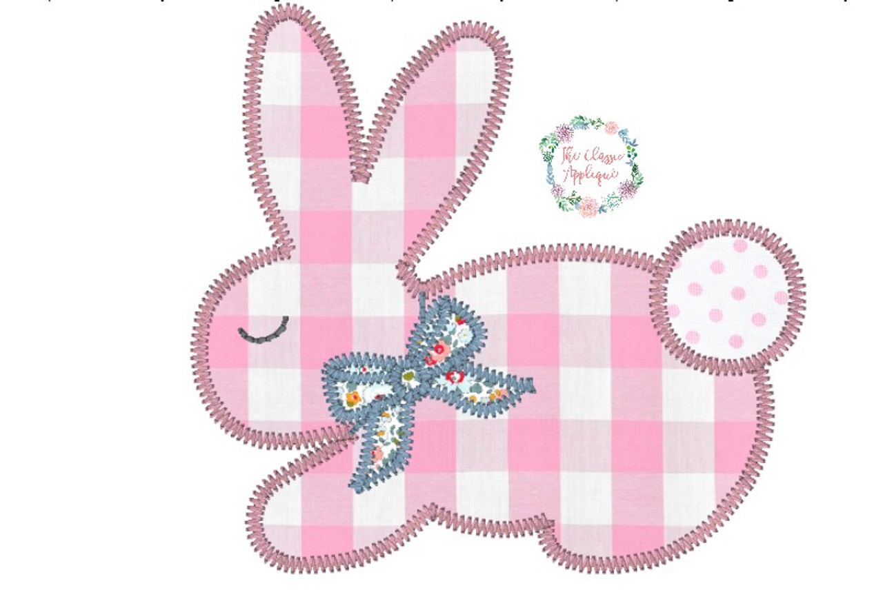 Easter bunny with bow zig zag girl applique machine embroidery