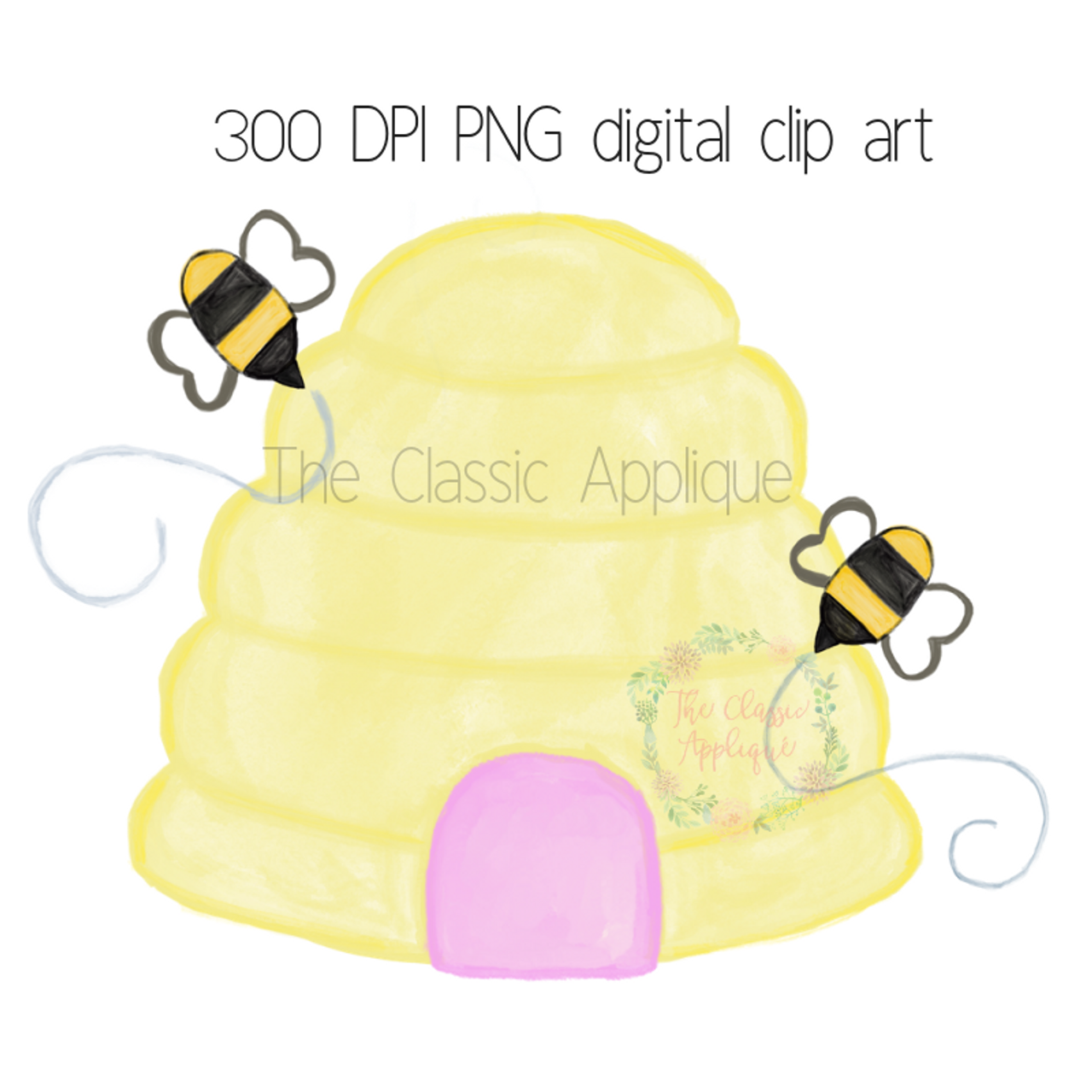 picture regarding Beehive Printable identified as Beehive watercolor PNG printable electronic clip artwork