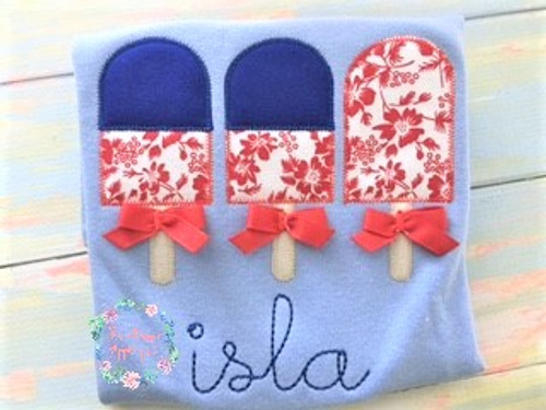 Patriotic zigzag applique popsicles in a trio for the fourth of