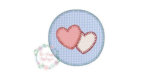 Circle patch with hearts blanket stitch applique the classic