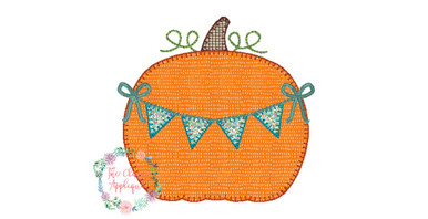 Girl fall pumpkin with bunting and bow blanket stitch applique