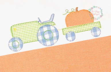 Boy fall john deere tractor pulling pumpkin blanket stitch