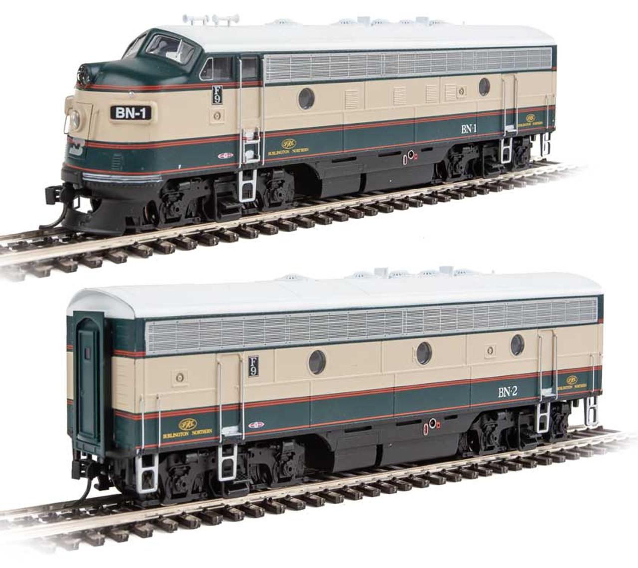 EMD F7 A-B Set - ESU Sound and DCC -- Burlington Northern #1, 2 (Executive Scheme; Cream, Grinstein Green) - Scale: HO