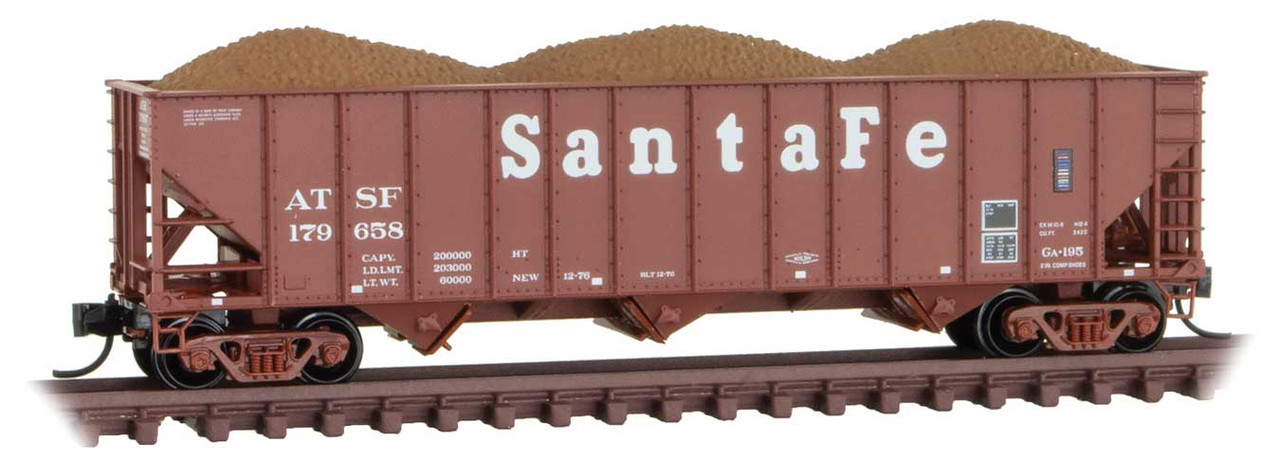 100-Ton 3-Bay Ribside Open Hopper with Load - Ready to Run -- Santa Fe 179697 (Boxcar Red, Large Cooper Lettering) - Scale: N