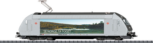 Class EL 18 Electric - Sound and DCC-Digital -- Norwegian State Railways #2253 (Era VI; gray, Pine Forest-Sea Mural) - Scale: HO