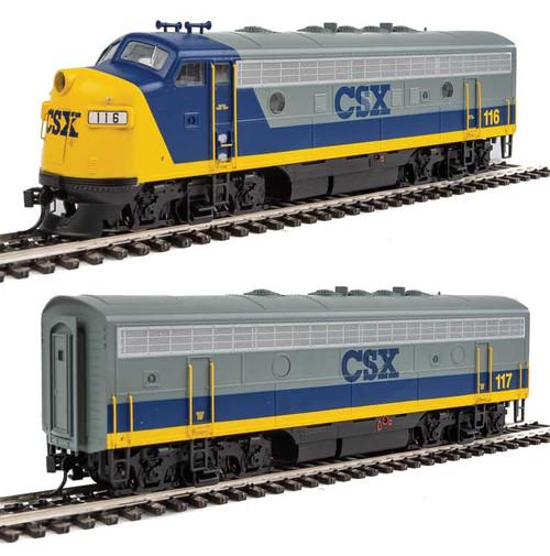 EMD F7 A-B Set - ESU Sound and DCC -- CSX Transportation #116, 117 (YN2; gray, blue, yellow) - Scale: HO