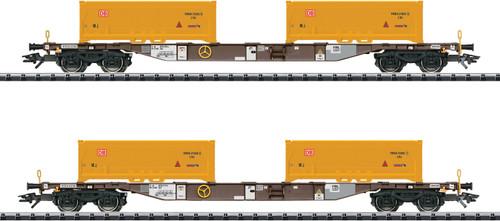 Type Sgns Flatcar with KLV Tub Load pkg(2) - Ready-to-Run -- AAE (Era VI 2014; Boxcar Red Flatcar, Stuttgart 21 Yellow KLV Tubs) - Scale: HO