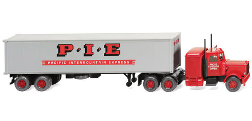 Scale: HO - 1977-1986 Peterbilt Sleeper-Cab Tractor with 40' Container on Trailer - Assemb -- Pacific Intermountain Express (red, silver)